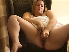 fat and whorable light haired bbw was petting her own meaty huge pussy