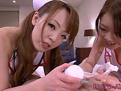 Busty jap mff trio nurse babes pussy fucked