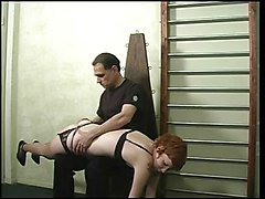Cute slut in black lingerie & nylons, spanked by her master