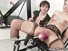 Gagged slut and her fucking machine