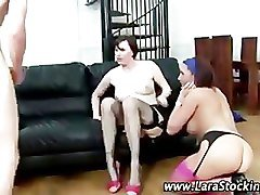 Mature british lesbian in stockings plays with friends pussy