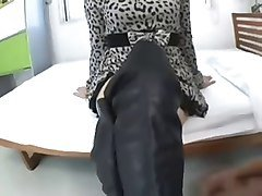 Thigh high boots wearing asian fucked