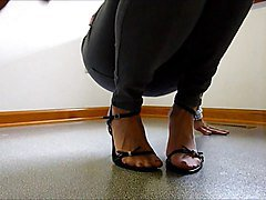 Mature foot tease in jeans