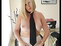 English Secretary Dom Mistress In White Pantyhose Wearing StrapOn