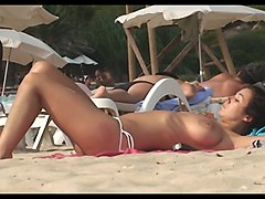 huge tits beach spain brunette