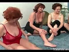 playful grannies suck in turns