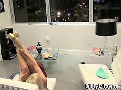 blonde sucking dick in her livingroom on hidden camera