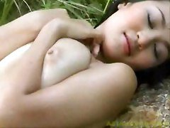 Gorgeous Busty Outdoor Asian Beauty Sexy Solo Tease
