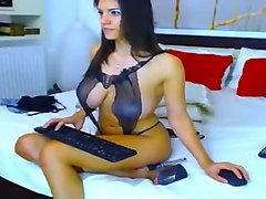 Beautiful brunette HotDiva19 with big tits fingering herself on webcam