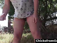australian hairy lesbians in outdoor threesome