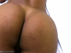 ebony shemale in black dress exposes big boobs and shemeat