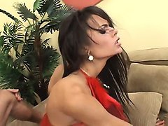 wonderful shemale with sexy long legs feeds her hunger for hard meat