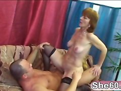 60 years old lady in stockings gives blowjob and gets pussy nailed