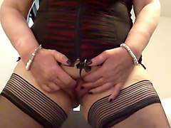 voluptuous german milf in sexy lingerie set masturbating passionately