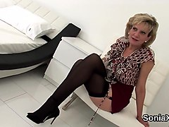 Adulterous english milf lady sonia presents her massive boobs