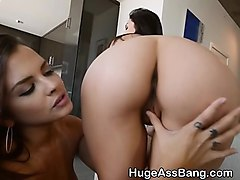 two brunettes with great big asses sucking dick together