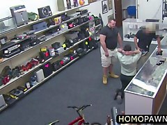 homosexual dudes are ready for some oral fun in the pawn shop
