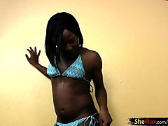 black cock girl in blue bikini blowjobs in pov and wanks off