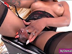 phat ass black tgirl moans as she wanks her big cock