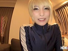 Japanese Mihono lets him cum on her