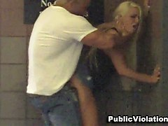 stunning long legged blonde bimbo fucked in the public place