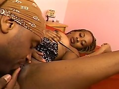 Beautiful Black Gal Sucks And Fucks Her Homie