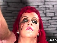 Nasty sex kitten gets cumshot on her face swallowing all the semen