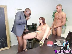 devoted milf with huge bosoms gets double penetrated in threesome with black studs
